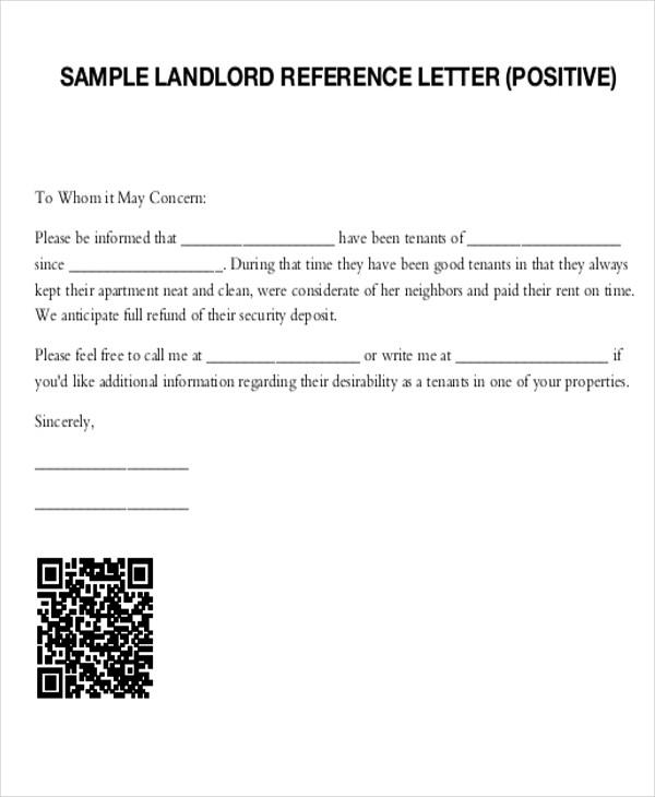 Landlord Recommendation Letter Landlord Reference Letter Sample