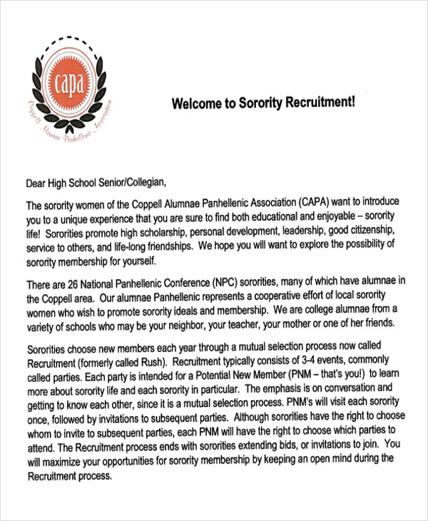 7 Sample Sorority Recommendation Letter Free Example