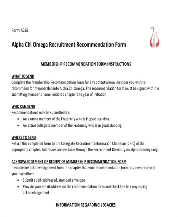 Sorority Letter Of Recommendation Form  Docoments Ojazlink