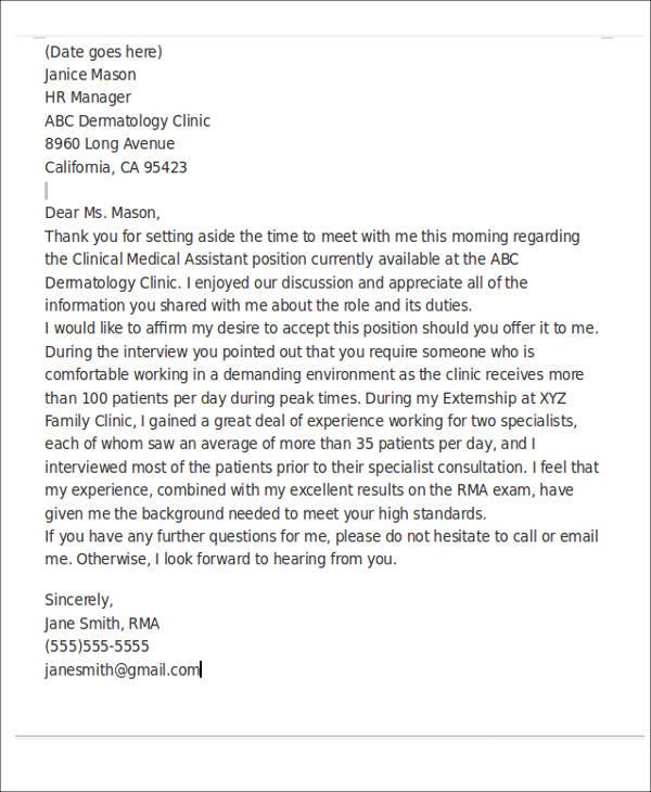 Medical Assistant Thank You Letter Lexu Tk