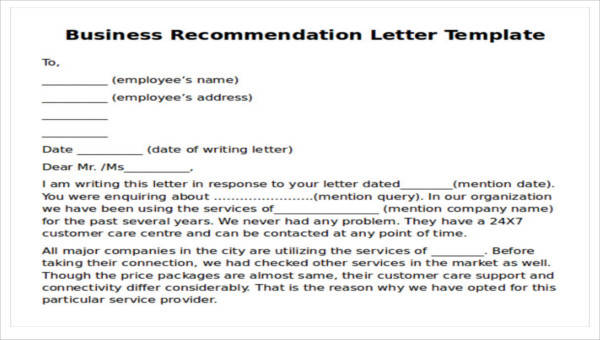 9 Sample Business Recommendation Letters