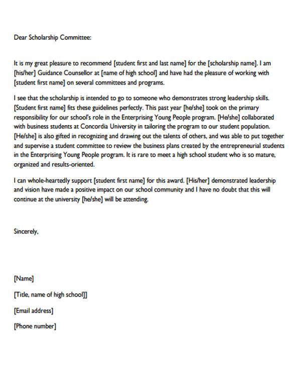 sample letter of recommendation for student scholarship