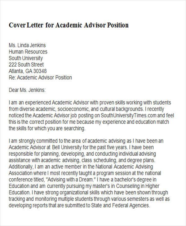 Sample Cover Letter Academic Advisor Torte
