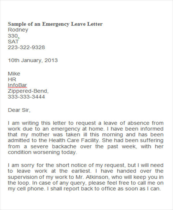 Emergency leave letter robertottni emergency leave letter thecheapjerseys Gallery