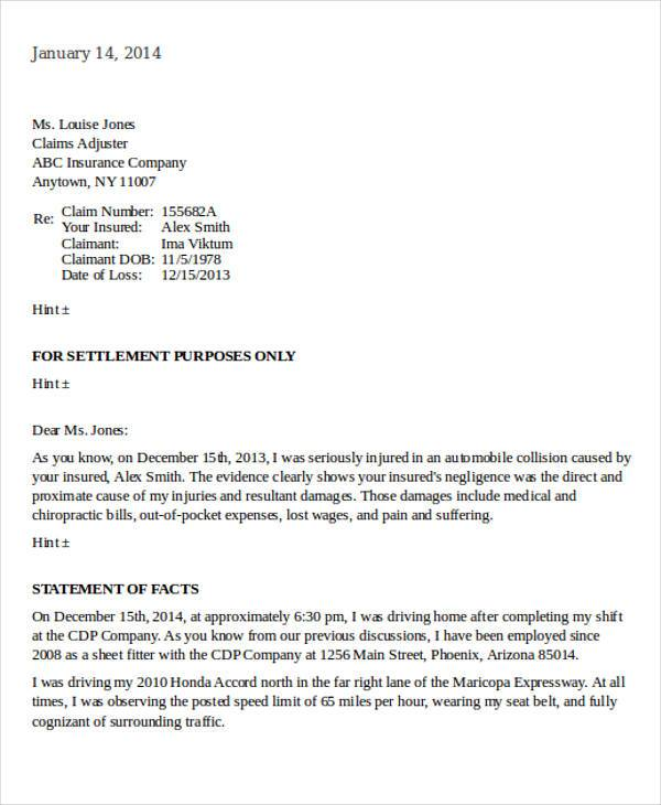 Claims Letter Examples Adjuster Cover