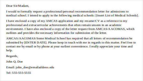 8+ Medical School Recommendation Letter