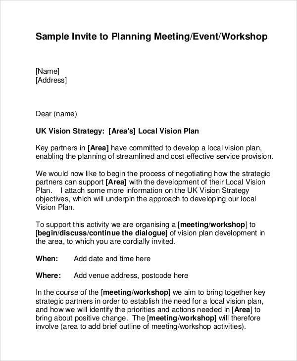 Meeting Invitation Letter Format