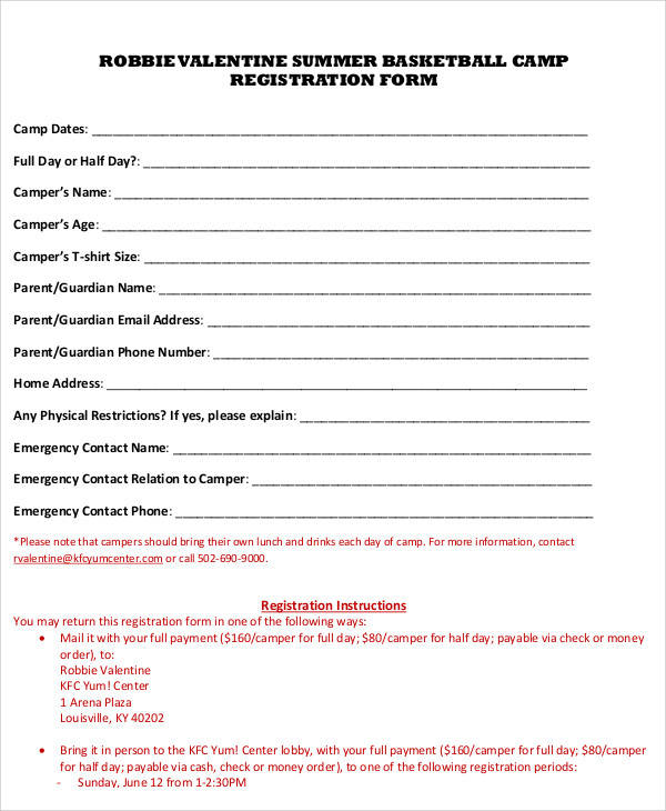 basketball camp registration form template 12 Doubts About