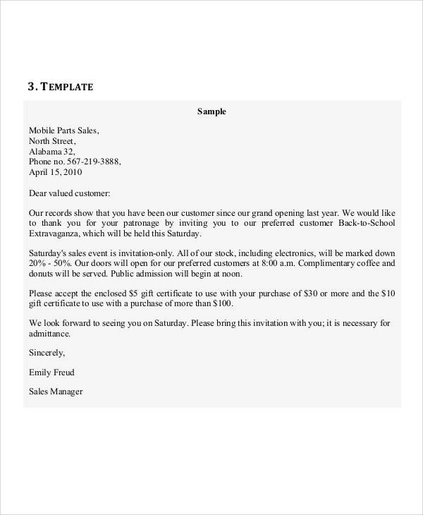 invitation letter to purchase