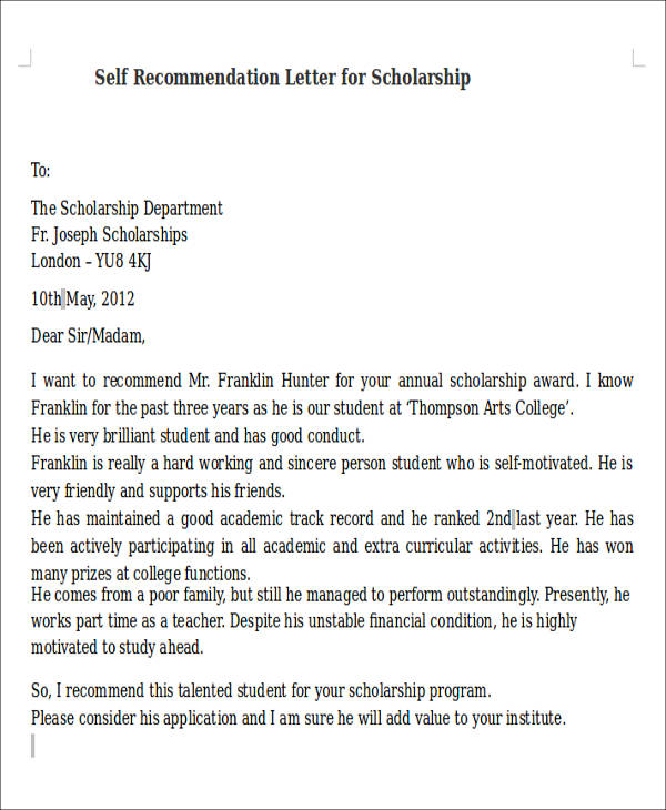 Self Recommendation Letter  MytemplateCo