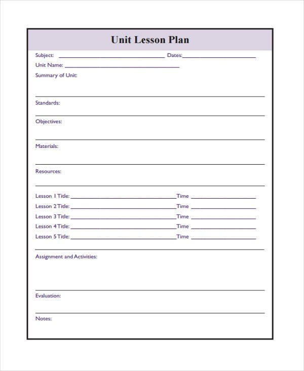 Lesson Plan Form Template