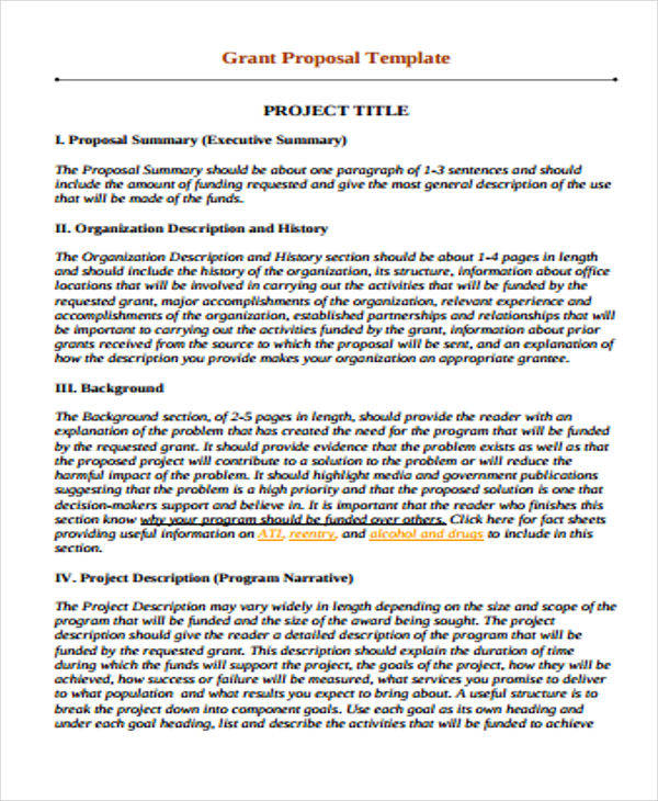 13 Grant Proposal Samples Word PDF Pages