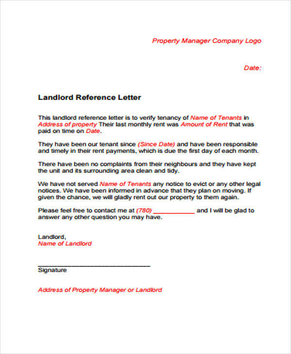 Apartment Reference Letter Sample