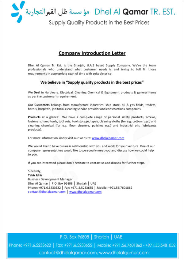 FREE 15 Company Introduction Letter Samples Amp Templates In DOC PDF