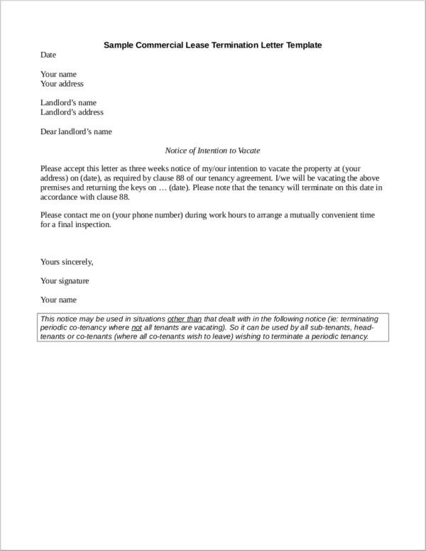 Tenant Early Lease Termination Letter