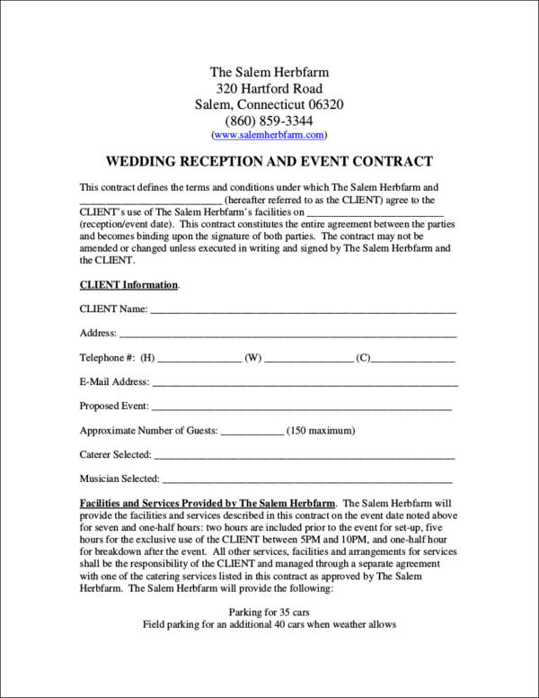 FREE 14 Wedding Contract Samples In Word PDF Google Docs