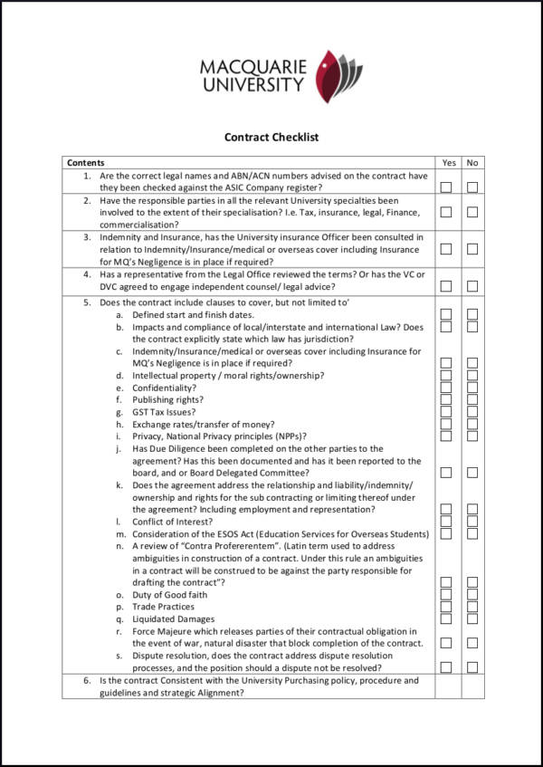 19 Contract Checklist Samples Templates Free PDF Word Excel Format Download