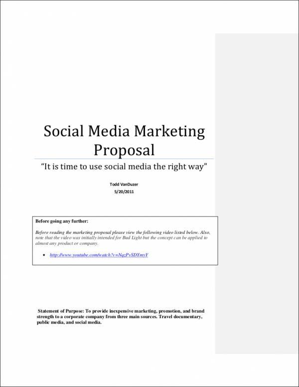FREE 6 Social Media Marketing Proposal Samples Amp Templates In Word PDF