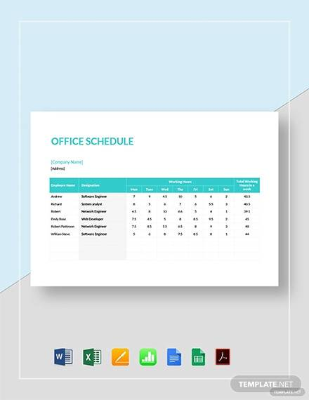 When creating a written template, use paper, a pencil or pen, and a ruler for. Free 12 Office Schedule Samples And Templates In Pdf Ms Word Excel
