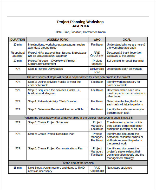 The workshop agenda should be the source of an organized activity. Free 10 Project Agenda Samples And Templates In Pdf Ms Word