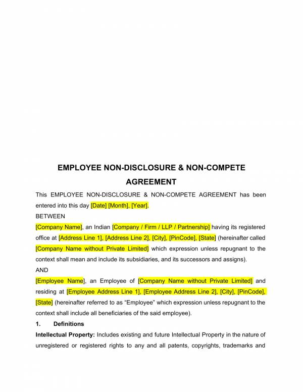 company name is located at address and is represented by name of representative in this agreement. Free 14 Employee Non Compete Agreement Templates In Pdf Ms Word Google Docs Pages