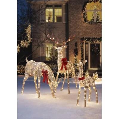 Members Mark Set Of 3 Glittering Thread Deer Family Sam