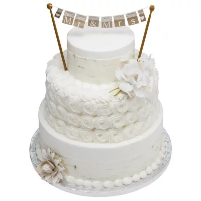 Cakes and Cupcakes   Sam s Club 3 Tier White Cake with But r creme Icing