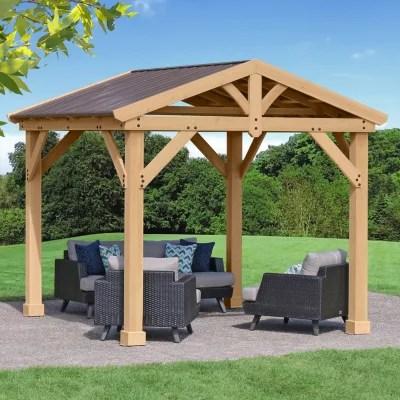 Yardistry 10' x 10' All Cedar Pavilion with Aluminum Roof ... on Yardistry Backyard Pavilion id=98002