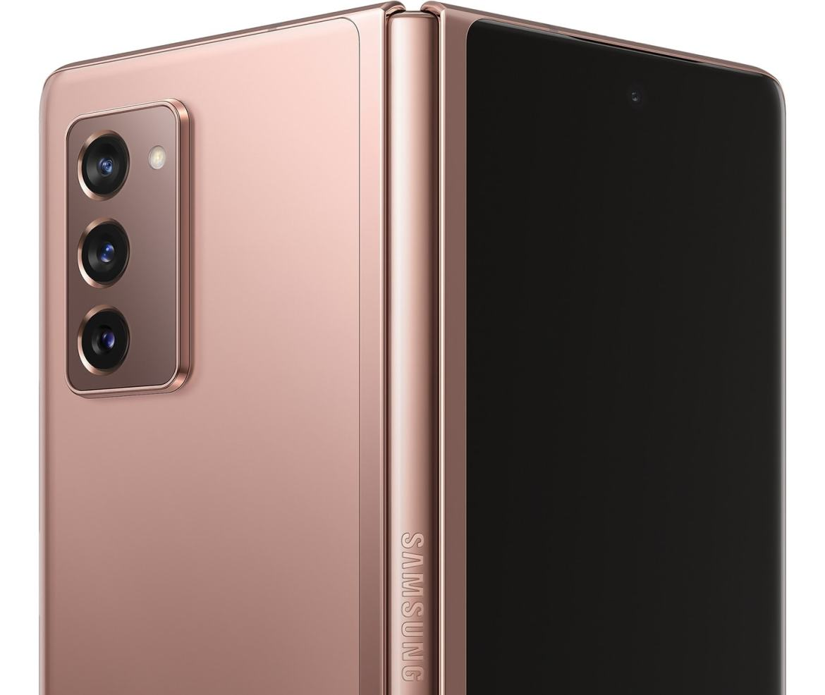 Galaxy Z Fold2 in Mystic Bronze, half unfolded and seen from the rear to show the Hideaway Hinge.