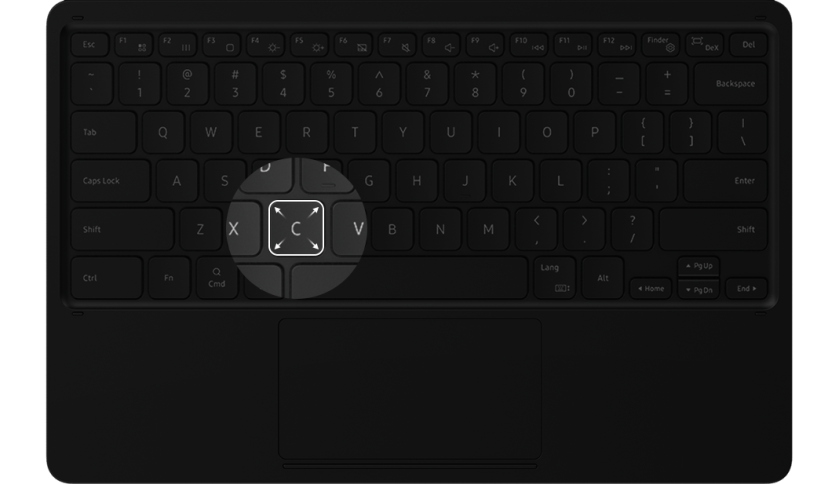 The key cap is highlighted on the BookCover Keyboard to show the larger keys