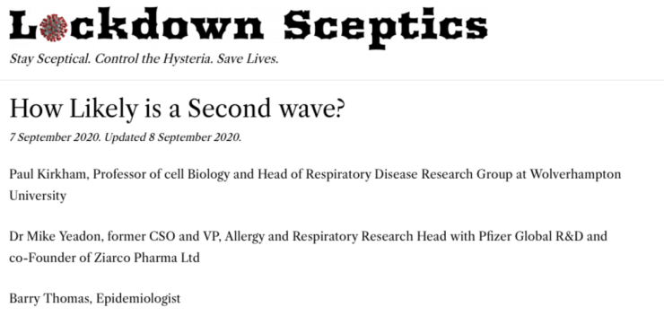 """Masthead for """"Lockdown Skeptics.org"""" publisher of """"How Likely is a Second Wave?"""""""