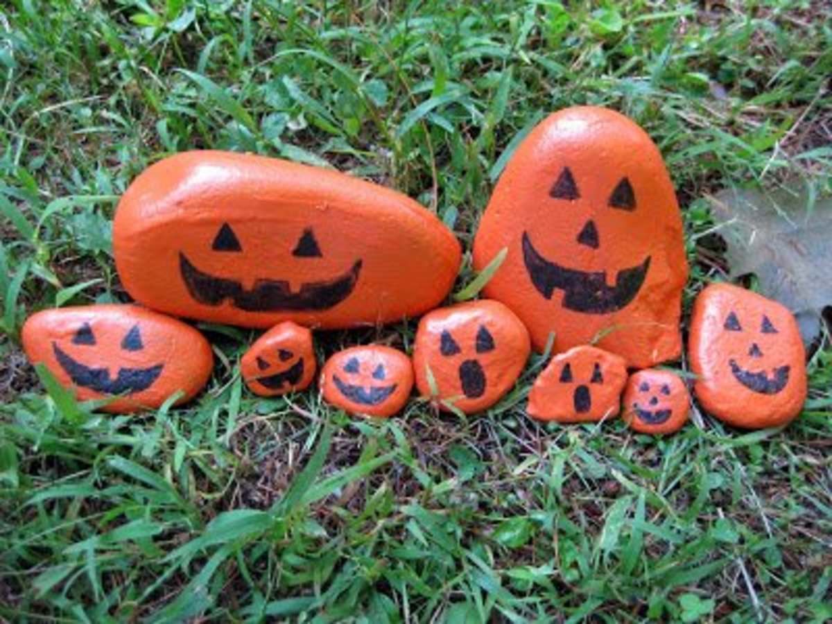 I tried a sample by painting several layers of latex paint and heating with a strong. Halloween Rock Painting Hubpages