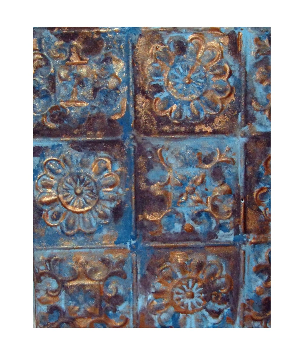 wall hanging with antique ceiling tin