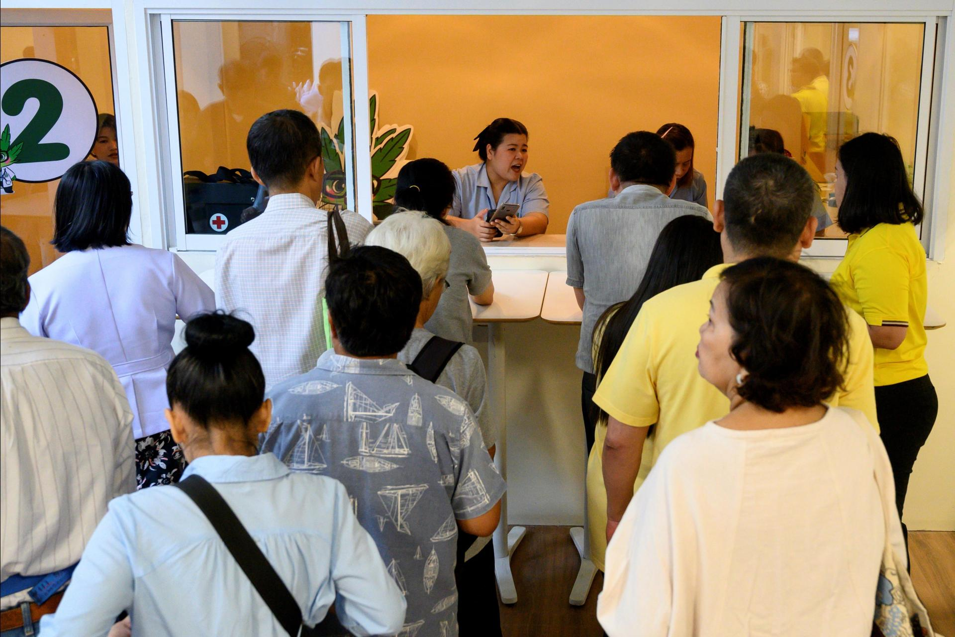 Patients waiting to register for cannabidiol (CBD) oil treatment during the opening of the marijuana clinic on Monday, 6 January.