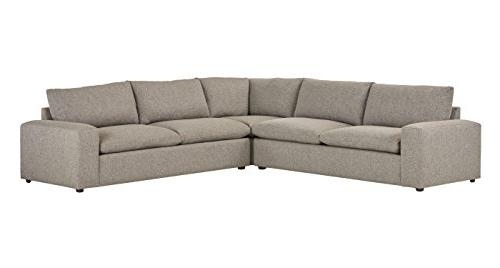 stone beam hoffman down filled performance sectional sofa 127 w grey tweed