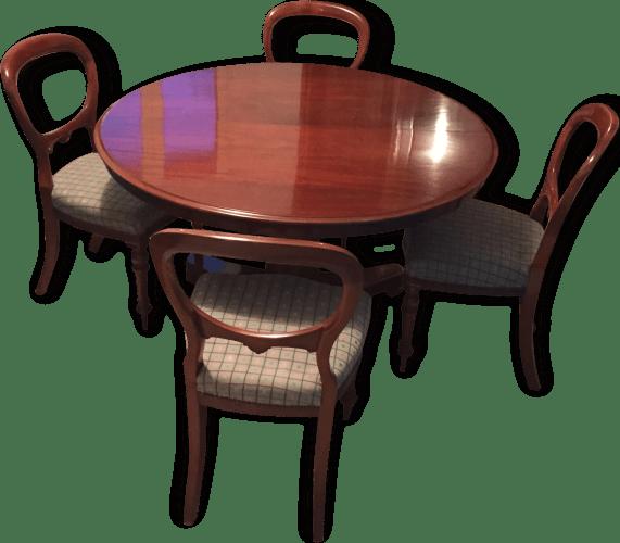table ronde en acajou de cuba epoque victorienne et 4 chaises d epoque victorienne