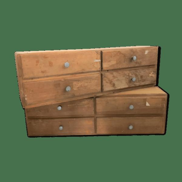 paire d etageres blocs tiroirs en bois brut selency