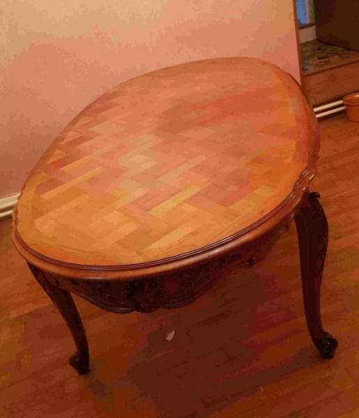 table ovale en merisier selency