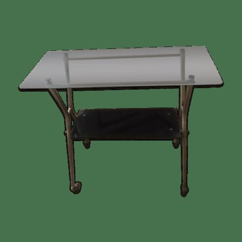 table basse meuble tv verre et laiton selency