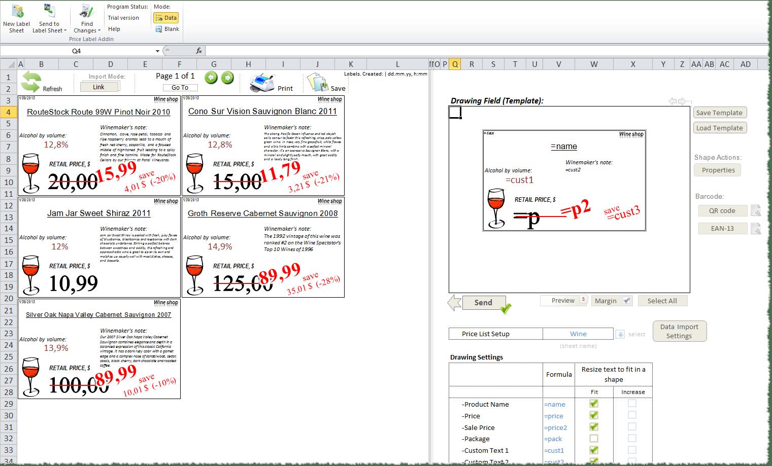 Excel Worksheet Label