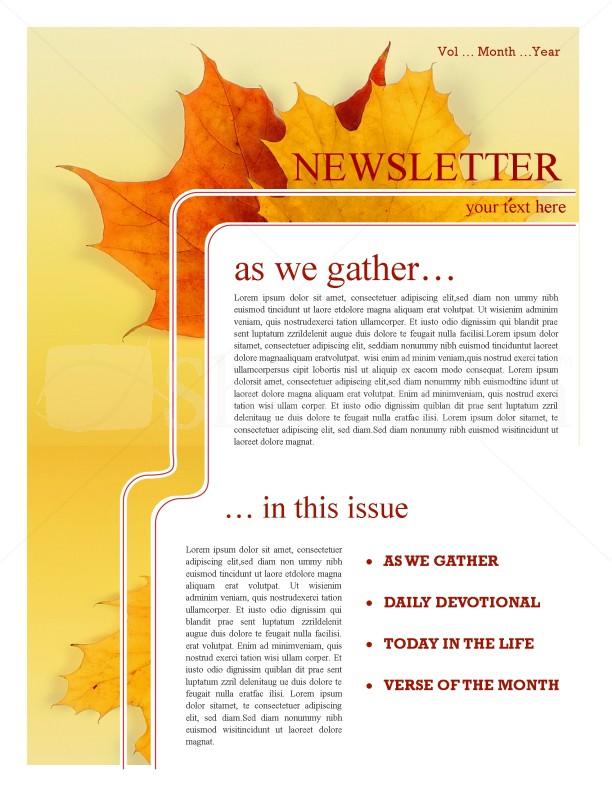Maple Leaf Church Newsletter Template Newsletter Templates