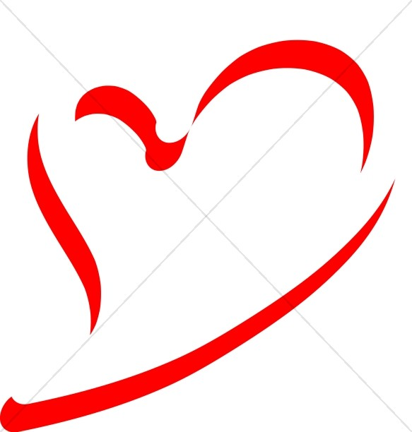 Abstract Heart Outline Christian Heart Clipart