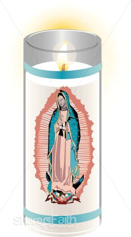 Votive Virgin Mary Candle Church Candle Clipart