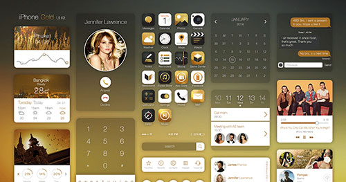 Iphone Gold Ui Kit PSD素材