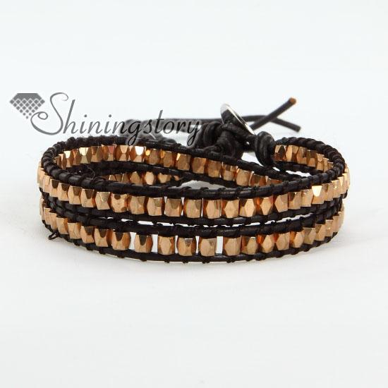 silver bead beaded double wrap leather bracelets