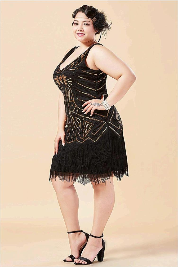 BABEYOND Women's Plus Size Flapper Dresses 1920s V, Gold ...