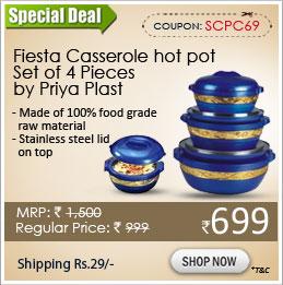 Fiesta Casserole hot pot Set of 4 Pieces by Priya Plast