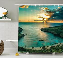 hawaiian shower curtain hanauma bay on oahu print for bathroom