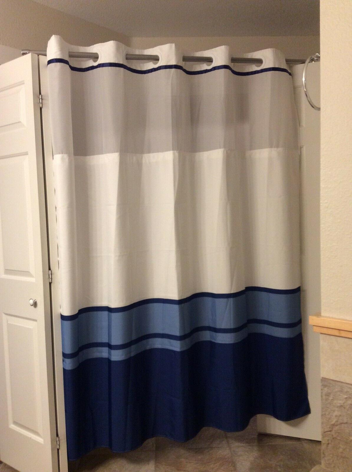 hookless shower curtain 71x77 white and