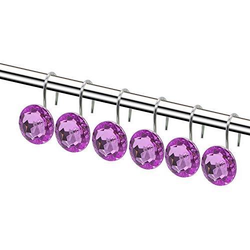finros shower curtain hooks diamond shape shower rings round acrylic decorative rhinestones bling rolling bathroom bath set of 12 rings decorative shower curtain hooks